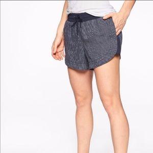 Athleta Beachside Bali Linen Shorts Navy Stripe